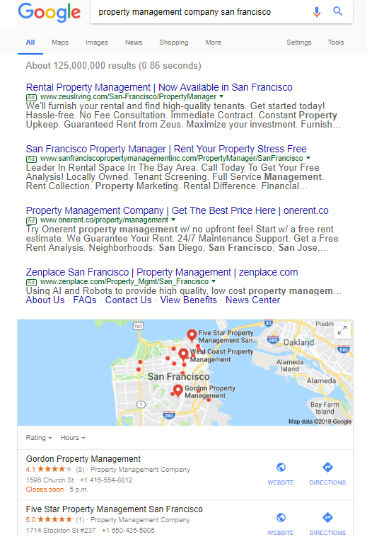 Google Search: Property Management Company San Francisco